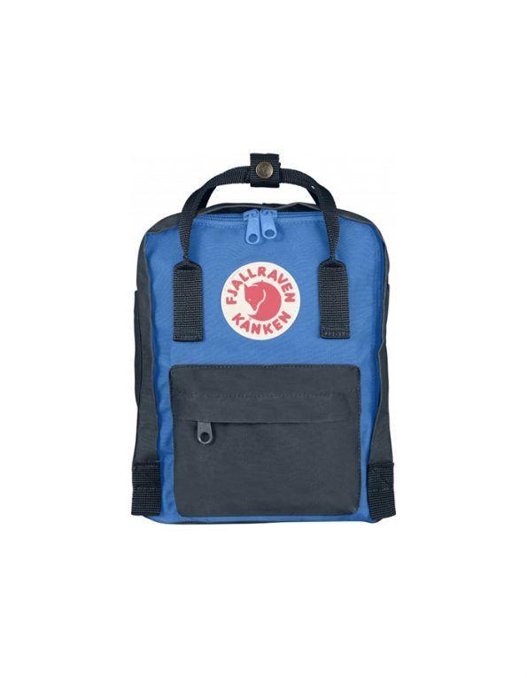 La mochila mini Kanken color Grafito+UN Blue está hecha vinylon F, ligero y duradero. Con una gran abertura para facilitar guardar y quitar elementos.