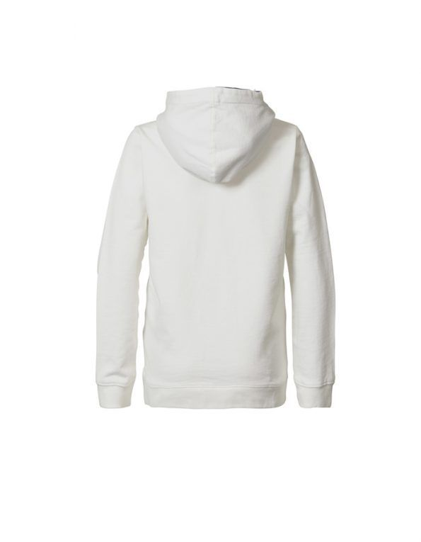 Sudadera Petrol Industries en color blanco con detalle print en el pecho y capucha con forro en tejido azul marino y cordones.