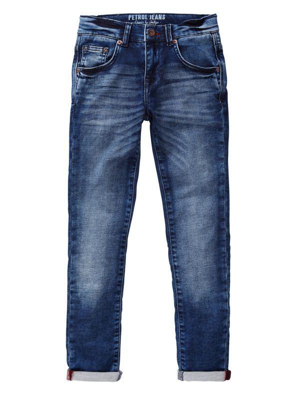 Pantalón denim con corte pitillo, color azul con acabado gastado. No se bajan cuando se agacha el niño con elastano para un mayor ajuste.