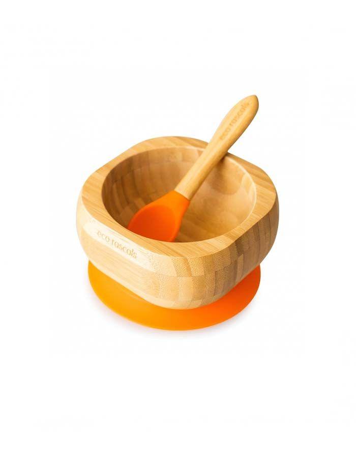 bol-con-ventosa-y-cuchara-de-bambu-de-eco-rascals naranja