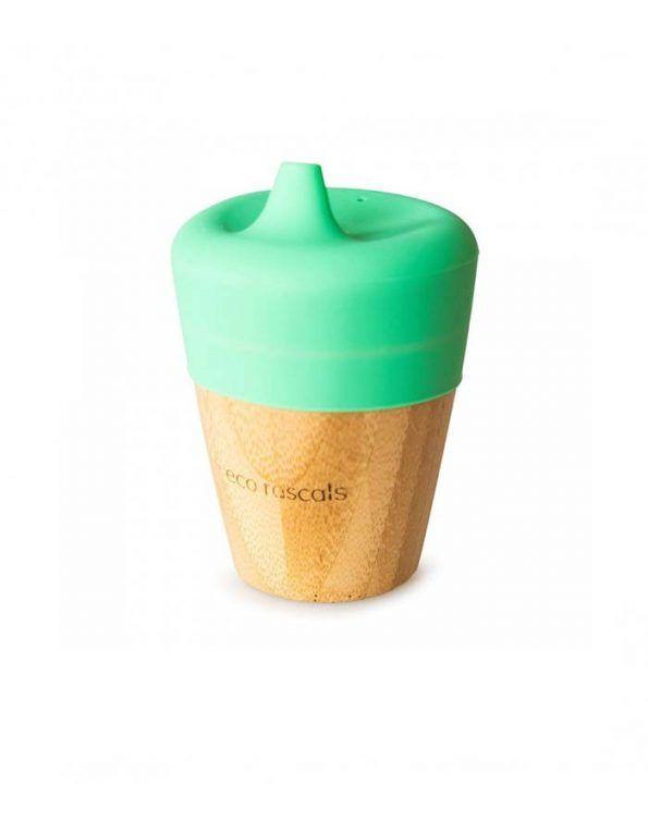vaso-de-bambu-190ml-con-tapa-y-tetina-de-eco-rascals verde