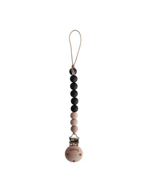 chupetero de madera y silicona color negro