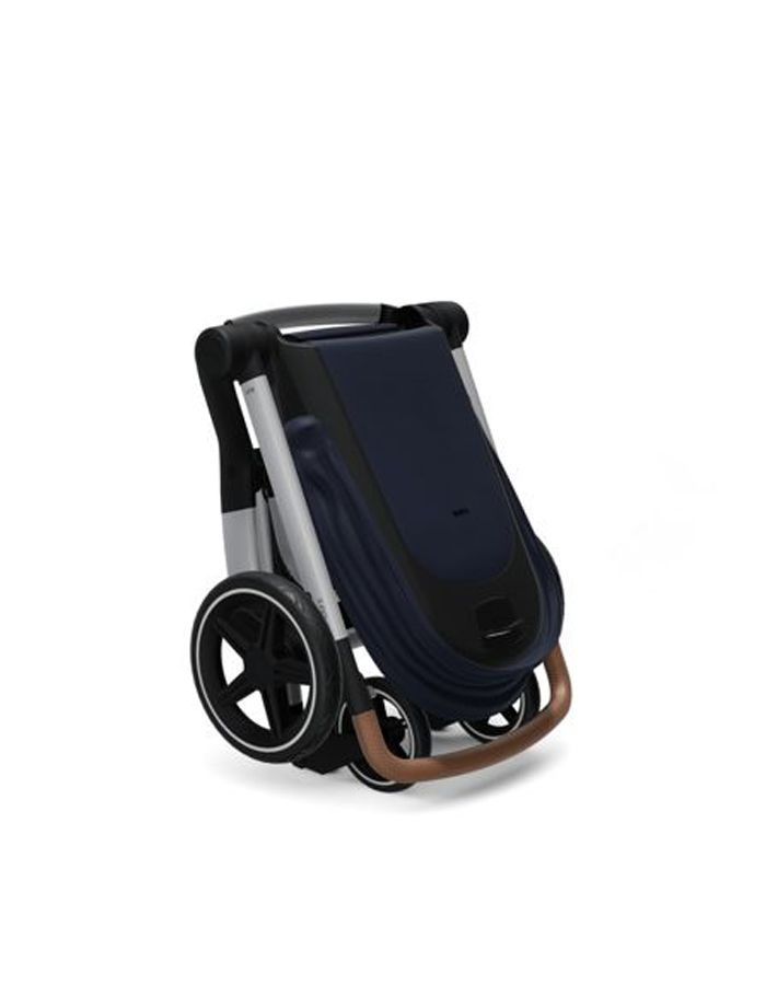 silla de paseo HUB + azul marino plegada