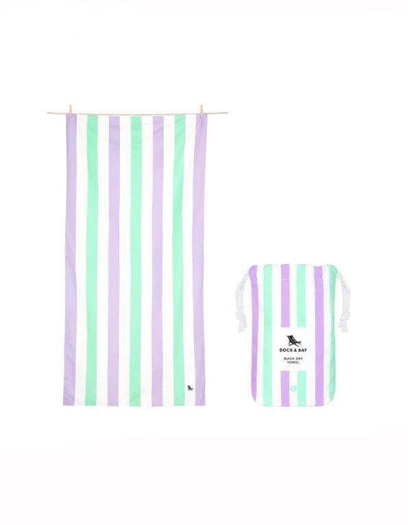 toalla playa microfibra rayas lila y verde wearekiddys