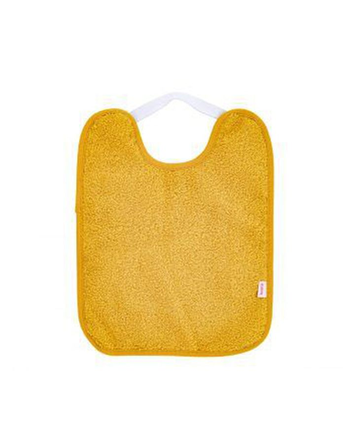Babero toalla plastificado con goma mostaza