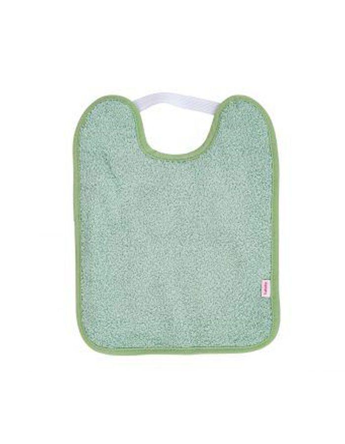 Babero toalla plastificado con goma verde copia