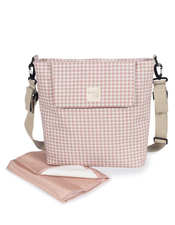bolso cambiador walking mum vichy rosa c